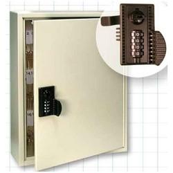"Key Cabinet, 65 Key, 4-Wheel Combination Lock, White Plastic Single-Tag, 13"" Width x 3.25"" Depth x 17"" Height, Powder Coated Steel"