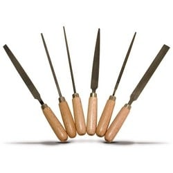 Key File Set, Includes Round-Tapered, 3-Square Tapered, Square-Tapered, Rectangular Straight, Warding Tapered, Half Round Tapered File, Wooden Handle