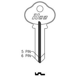 Cylinder Lock Key Blank, 6-Pin, Brass, Nickel Plated, 6 Price Group, For Sargent