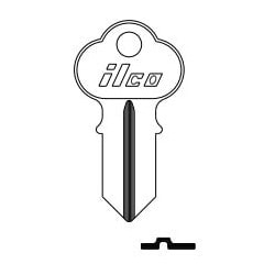 Cylinder Lock Key Blank, Double-Sided, Brass, Nickel Plated, 8 Price Group, For Chicago