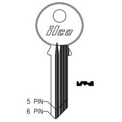 Cylinder Lock Key Blank, 6-Pin, Sectional, Brass, Nickel Plated, 20 Price Group, For Yale