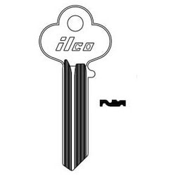 Cylinder Lock Key Blank, 6-Pin, Sectional, Natural Nickel Silver, 20 Price Group, For Lockwood