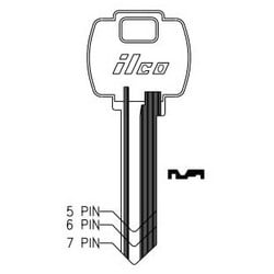 Cylinder Lock Key Blank, 6-Pin, Sectional, Brass, Nickel Plated, 10 Price Group, For Falcon