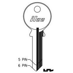 Cylinder Lock Key Blank, 6-Pin, Brass, Nickel Plated, 19 Price Group, For Abus/Cisa