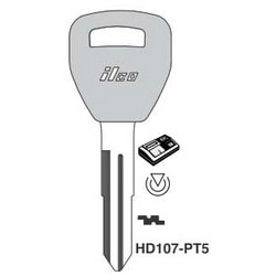 Vehicle Key Blank, Transponder Key, Cloning Tool, Brass, Nickel Plated, For Honda Automobile