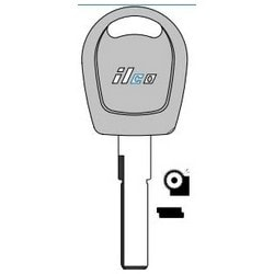 Vehicle Key Blank, Plastic Head, Special Key Machine, Brass, Nickel Plated, 20 Price Group, For Volkswagen