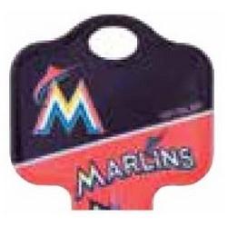 Decorative Key Blank, MLB Team Key, Kwikset/Titan, Marlins Logo, KW1 Keyway, 46 Price Group