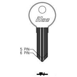 Cylinder Lock Key Blank, 5-Pin, Double-Sided, Brass, Nickel Plated, 19 Price Group, For Illinois