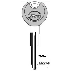 Vehicle Key Blank, Plastic Head, Brass, Nickel Plated, 9 Price Group, For Mazda