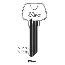 Cylinder Lock Key Blank, 6-Pin, Master, Natural Nickel Silver, 11 Price Group, For Sargent