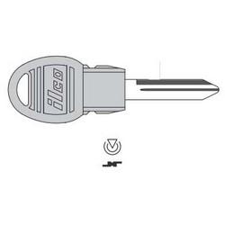 Vehicle Key Blank, Transponder Key, Brass, Nickel Plated, For Chrysler