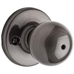 "Door Knob, Polo, Round Corner Strike/Adjustable Latch, 2-5/8"" Diameter x 2-32/23"" Depth, Antique Nickel, For Privacy/Bed/Bath"