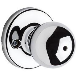 "Door Knob, Polo, Round Corner Strike/Adjustable Latch, 2-5/8"" Diameter x 2-32/23"" Depth, Polished Chrome, For Privacy/Bed/Bath"