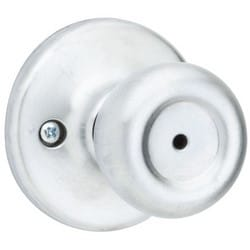 "Door Knob, Tylo, Square Corner Strike/Adjustable Latch, 2-5/8"" Diameter x 2-1/2"" Depth, Satin Chrome, For Privacy/Bed/Bath"
