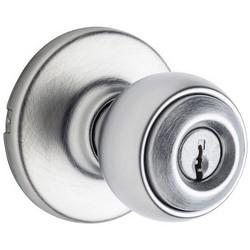 "Door Knob, Polo, 6-Way Adjustable Latch, Round Corner Strike, 3 Keyed Alike, 2-5/8"" Diameter x 2-32/23"" Depth, Satin Chrome, For Entry"
