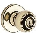 "Door Knob, Tylo, 6-Way Adjustable Latch, Round Corner Strike, 2-5/8"" Diameter x 2-1/2"" Depth, Polished Brass, For Entry"