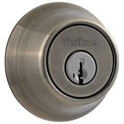 "Door Deadbolt, Round Corner Strike/Adjustable Latch, Single Cylinder, 2-1/2"" Diameter, Antique Nickel"