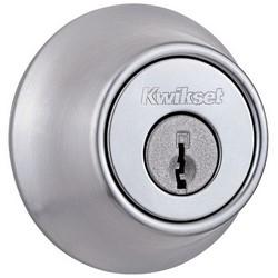 "Door Deadbolt, 6 Keyed Alike, Single Cylinder, 2-1/2"" Diameter, Satin Chrome, Clear Pack"