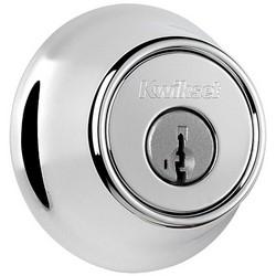 """Door Deadbolt, Round Corner Strike/Adjustable Latch, Single Cylinder, 2-1/2"""" Diameter, Polished Chrome"""
