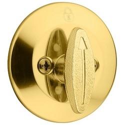 "Door Deadbolt, Thumbturn 1-Side, 2-1/2"" Diameter, Polished Brass, Clear Pack"
