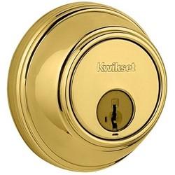 "Door Deadbolt, Smartkey, Round Corner Strike, Single Cylinder, 3"" Diameter, Polished Brass"