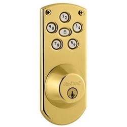 Door Electronic Deadbolt, Powerbolt, Smartcode, Single Cylinder, Touchpad, Lifetime Polished Brass