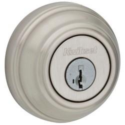 "Door Deadbolt, Smartkey, 4 Keyed Alike, Single Cylinder, 2-5/8"" Diameter, Satin Nickel, Clear Pack"