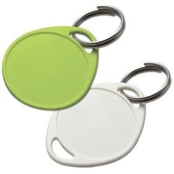 """Key Tag, Round, 1-Hole, 1-1/4"""" Diameter, Plastic, With 24 Label, Without Ring, 14 each per Pack"""