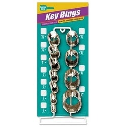 """Split Key Ring Counter Display, 365-Piece, 6"""" Width x 6"""" Depth x 13"""" Height, Tempered Steel, Nickel Plated"""