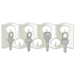 "Wavy Key Rack, 3-1/4"" Width x 10-1/4"" Length x 5/8"" Thickness, 7 Hook, Pearlized White, 1 each per Peggable Box"