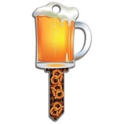 House Key, Kwikset, Beer Mug, Brass, Enamel Coating, 1 each per Card