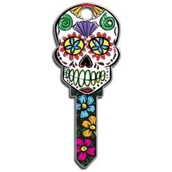 House Key, Kwikset, Sugar Skull, Brass, Enamel Coating, 1 each per Card