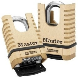 "Combination Padlock, Numeric, Proseries, Resettable, 2-1/4"" Width, 1-1/16"" Shackle Clearance, Solid Brass"
