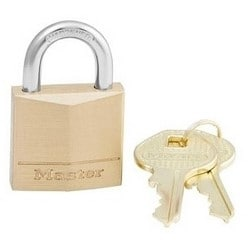 "Padlock, Keyed Different, 4-Pin Cylinder, 1-3/16"" Width, 5/8"" Shackle Clearance, Solid Brass"