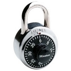 """Combination Padlock, Not Keyed, 1-7/8"""" Width, 3/4"""" Shackle Clearance, Stainless Steel, Black, With 14-04-22 Key, For Security Purpose"""