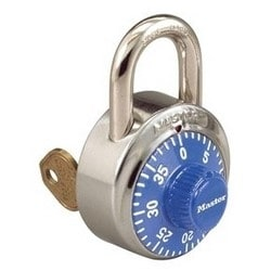 """Combination Padlock, 1-7/8"""" Width, 3/4"""" Shackle Clearance, Stainless Steel, Blue Dial, With V55 Key, For Security Purpose"""
