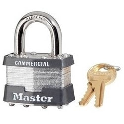 "Tumbler Padlock, Keyed Alike, 4-Pin W1 Cylinder, 1-3/4"" Width, 15/16"" Shackle Clearance, Laminated Steel, With (2) 0356 Key"