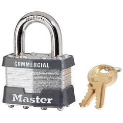 "Tumbler Padlock, Keyed Alike, 4-Pin W1 Cylinder, 1-3/4"" Width, 15/16"" Shackle Clearance, Laminated Steel, With (2) 1C327 Key"