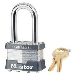 "Tumbler Padlock, Keyed Different, Rekeyable, 4-Pin W1 Cylinder, Zero Bitted, 1-3/4"" Width, 1-9/16"" Shackle Clearance, Laminated Steel"