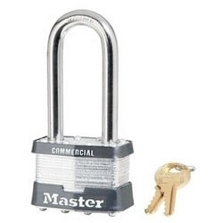 """Tumbler Padlock, Keyed Different, Boron Shackle, 2"""" Width, 2-1/2"""" Shackle Clearance, Laminated Steel, Without Cylinder"""