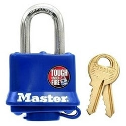 "Tumbler Padlock, Keyed Different, 4-Pin Cylinder, 1-9/16"" Width, 1-1/16"" Shackle Clearance, Laminated Steel, Blue"