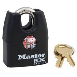 """Tumbler Padlock, Keyed Different, 4-Pin Cylinder, Shrouded, 1-9/16"""" Width, 3/4"""" Shackle Clearance, Laminated Steel"""