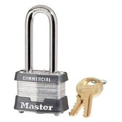 """Tumbler Padlock, Keyed Different, 4-Pin Cylinder, 1-9/16"""" Width, 2"""" Shackle Clearance, Laminated Steel, For Commercial"""