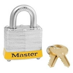 """Safety Padlock, Keyed Alike, 4-Pin Cylinder, 1-9/16"""" Width, 3/4"""" Shackle Clearance, Laminated Steel, Yellow, With (2) 0306 Key"""