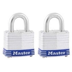"Tumbler Padlock, Keyed Alike, 4-Pin Cylinder, 1-9/16"" Width, 3/4"" Shackle Clearance, Laminated Steel, 8 each per Pack"
