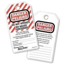 "Safety Tag, Guardian Extreme, Heavy Duty, 3-1/8"" Width x 5-3/4"" Height, Do Not Operate, Spanish/English, Laminated"