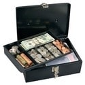 """Locking Cash Box, Keyed Different, 11"""" Width x 8"""" Depth x 4"""" Height, With 7 Compartment Tray"""