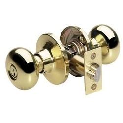 Door Lock, Keyed Alike, Biscuit Knob, Adjustable Backset, Polished Brass, WR3/5 Cylinder, For Entry, 8 each per Box