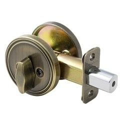 Door Deadbolt, Single Sided, Keyed Different, Antique Brass, Without Cylinder, For Entry, 8 each per Box