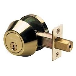 Door Deadbolt, WR3/5 Single Cylinder, 4-Way Adjustable Backset, Keyed Alike, Polished Brass